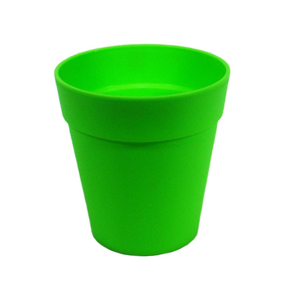 Macetero pl stico redondo verde lim n pl stico 13 x 13 x - Maceteros de plastico ...